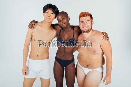 female and male friends wearing underwear