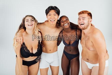 confident friends wearing underwear
