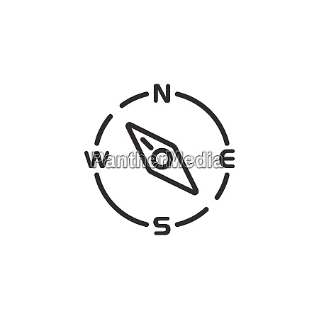compass thin line icon north west