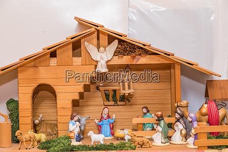 wooden nativity scene christmas