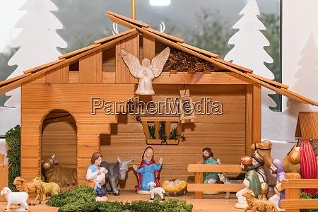 atmospheric christmas crib made of wood