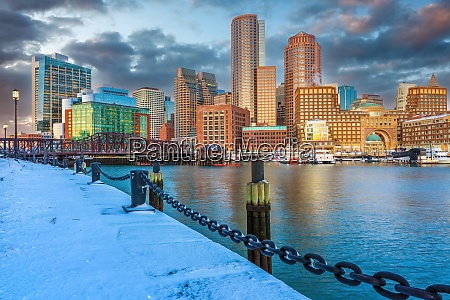 boston downtown at sunrise