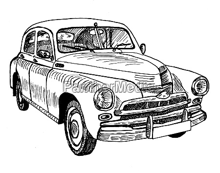 old timer classic car sketch graphics