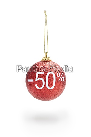 red color christmas ball hanging with