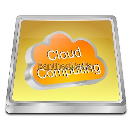 golden cloud computing button 3d