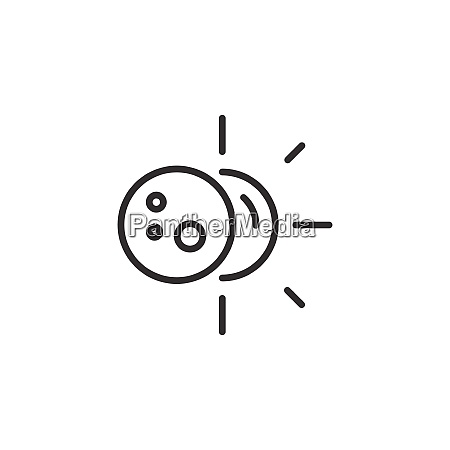 sun eclipse thin line icon isolated