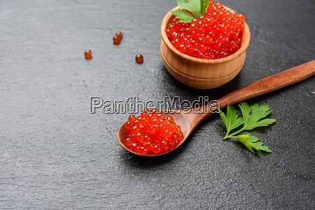 fresh grainy red chum salmon caviar