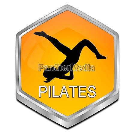 orange pilates button 3d illustration
