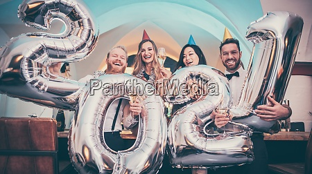 group of party people celebrating the