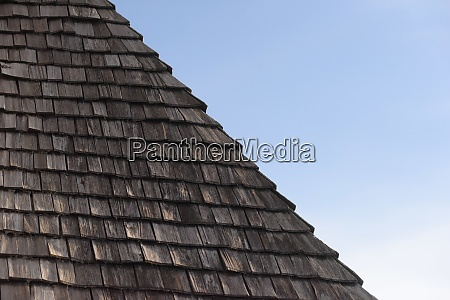 wooden shingle on a house roof