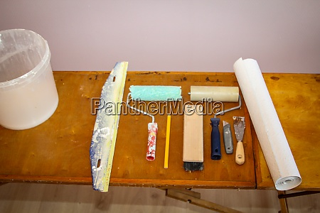 painter and wallpapering utensils and details
