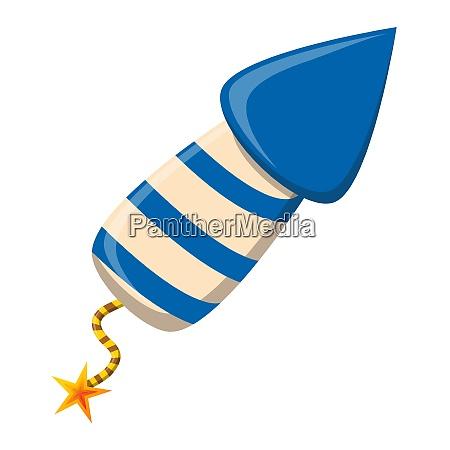 rocket firework cartoon icon blue striped