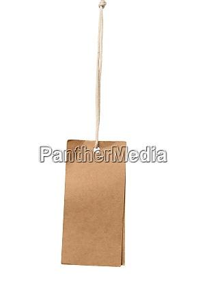 blank brown rectangular brown paper tag
