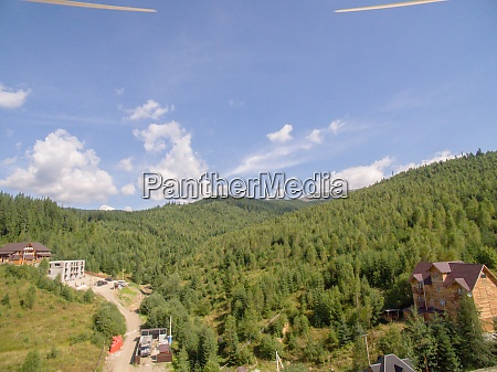 green mountaines aerial photo above private