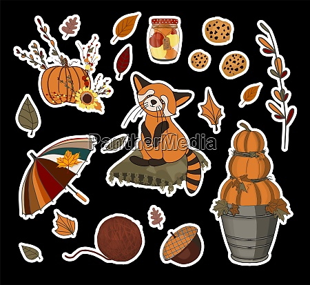 autumn set of stickers umbrella and