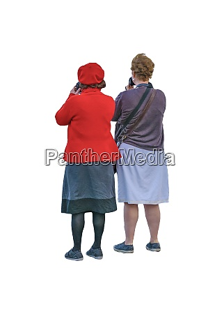 isolated senior women taking photos