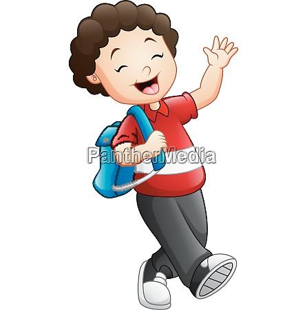 cute boy go to school