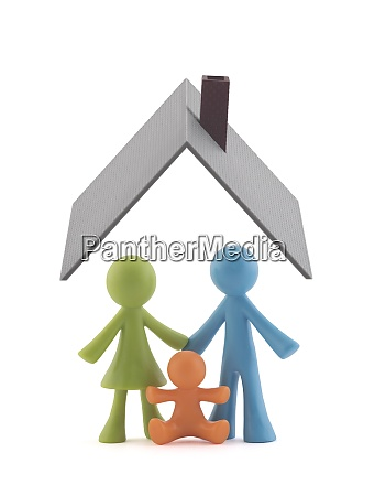 colorful family figurines covered by house