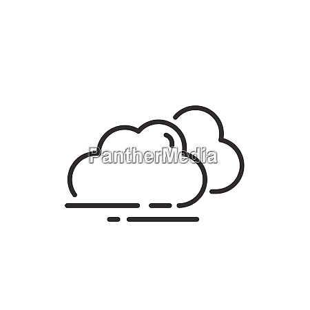 overcast thin line icon clouds on
