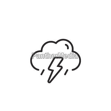 storm and cloud thin line icon