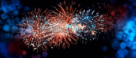 abstract colored firework on dark sky
