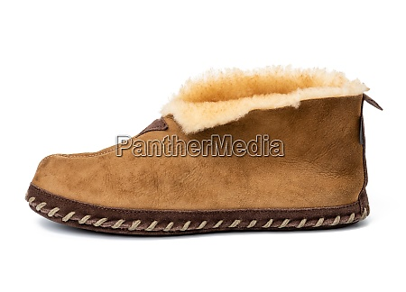 brown leather boot isolated on white