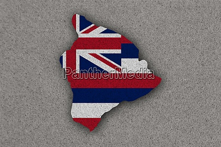 map and flag of hawaii on