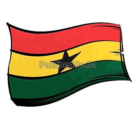 painted ghana flag waving in wind