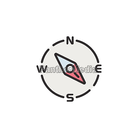 compass, south, east, direction., filled, color - 29212050