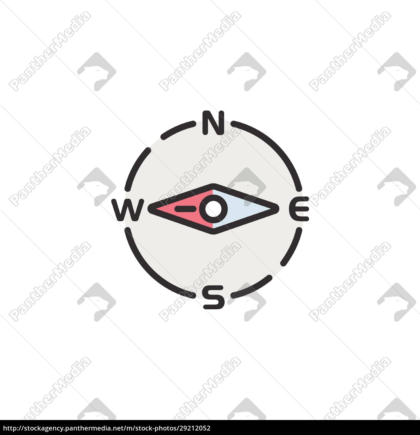 compass, west, direction., filled, color, icon. - 29212052