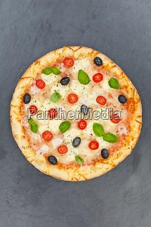 pizza margarita margherita from above slate