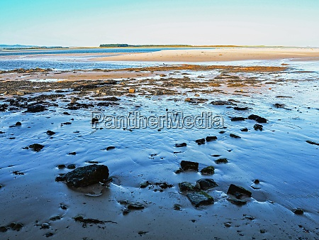 sandy and stony beach at bamburgh