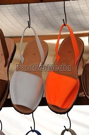 menorca shoes on a market
