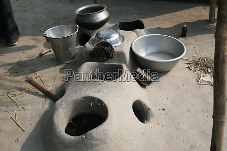 mud kitchen stove in village outside