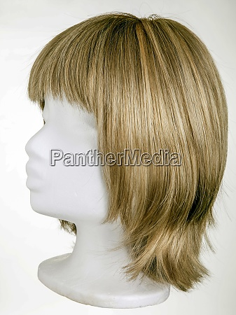 blonde wig on styrofoam head