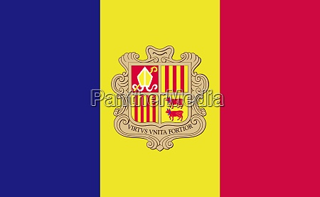 andorra national flag in exact proportions