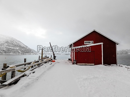 red house near tromso troms og