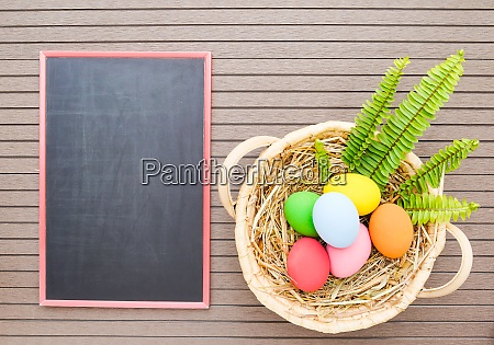 easter eggs in basket and blackboard
