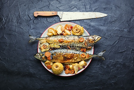 appetizing baked mackerel