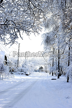 winter morning snow covered street