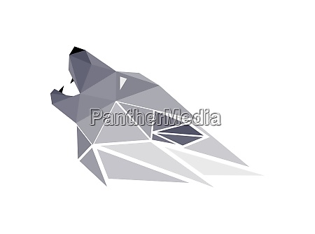 vector wolf in low poly style
