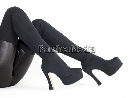black womens boots on white background