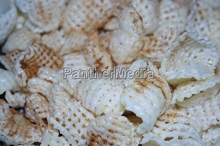 closeup view of freshly fried chips