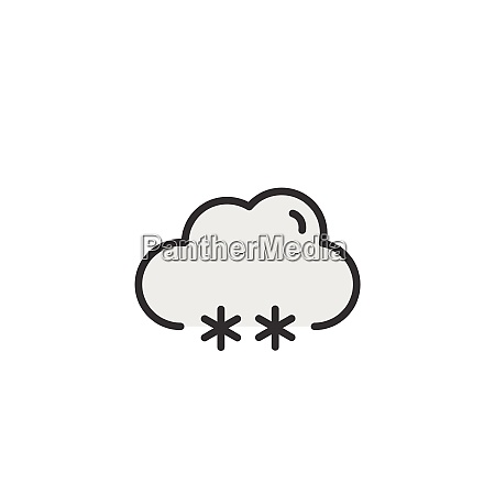 snow and cloud filled color icon