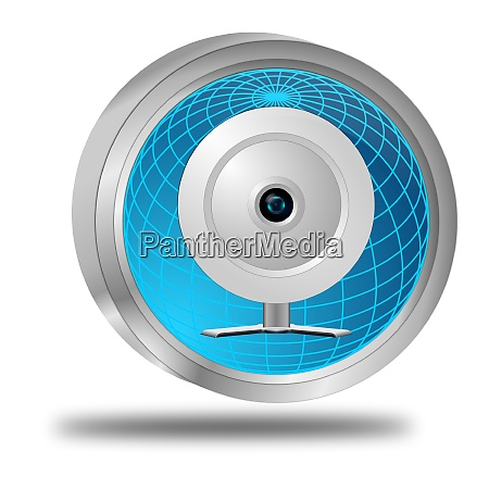 glossy blue button with webcam