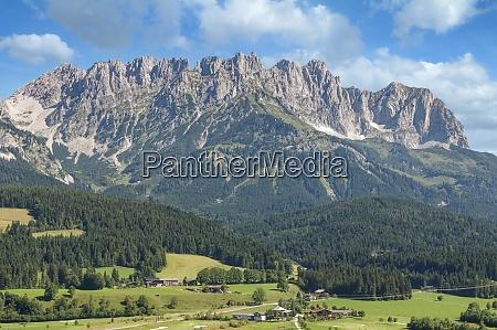 view from ellmau to kaisergebirge mountain