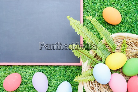 close up easter eggs on grass