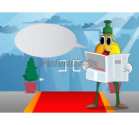 bottle, of, hand, sanitizer, reading, newspaper. - 29226192