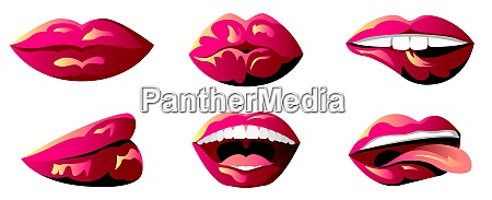 vector lips in graphic style