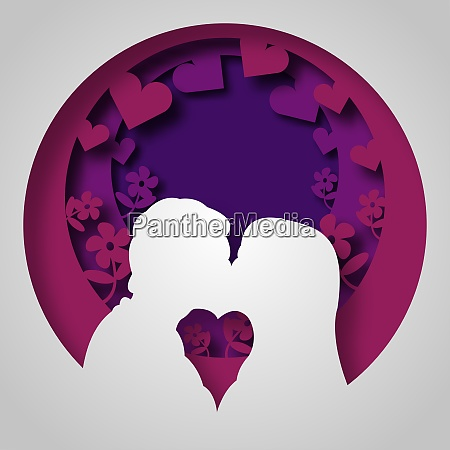 vector romance in paper art style